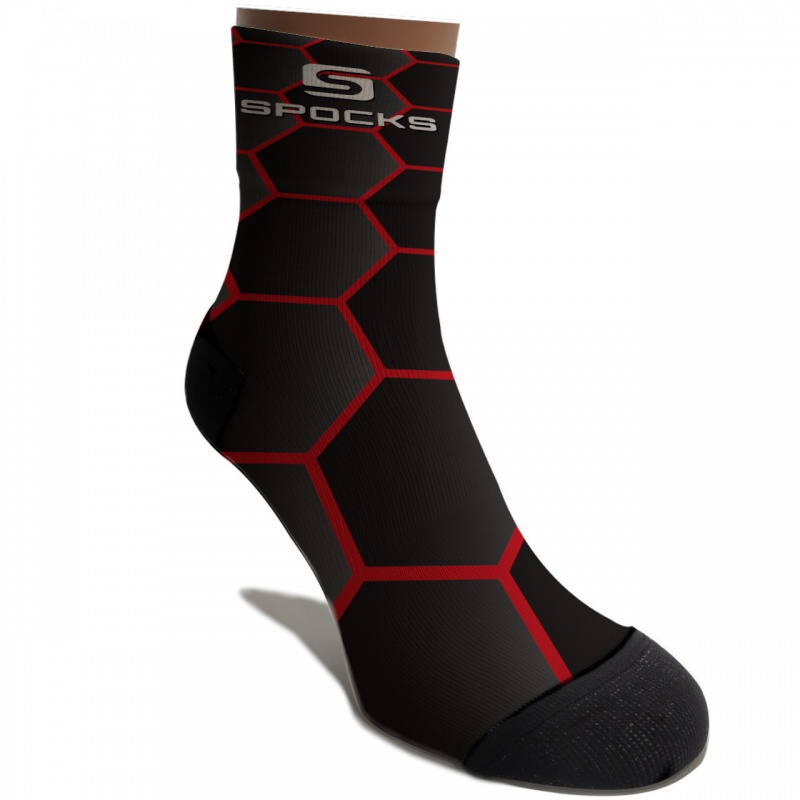 Nogavica Hexagon Red Black